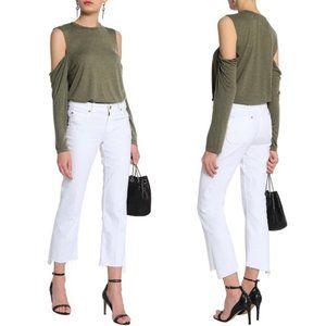 IRO Adele Long Sleeve T-shirt Olive Green - Medium
